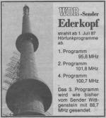 WDR Sender Ederkopf - Anzeige in Oberhessische Presse, 1987.png